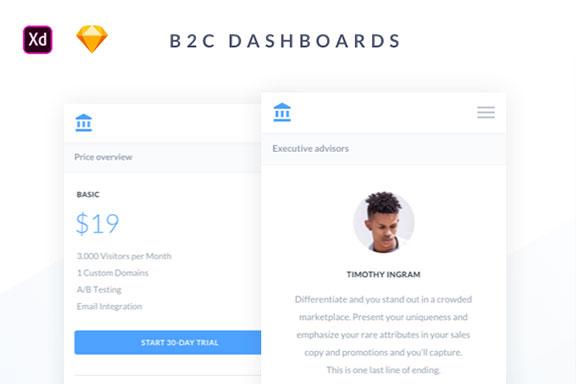 手机端B2C电子商务平台仪表盘WEB UI设计素材套件 Mobile B2C Dashboards