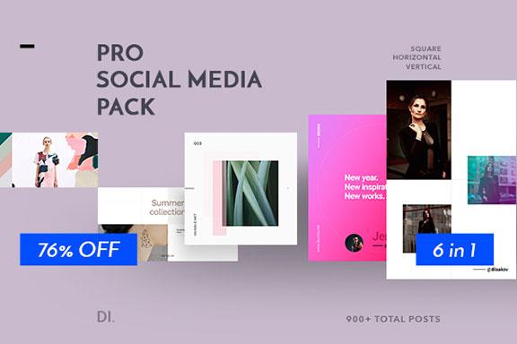 900+品牌营销推广社交媒体设计素材模板 6 in 1 PRO Social Media