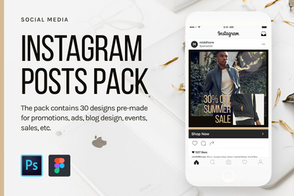 时尚服装品牌故事Instagram推广设计素材模板 Instagram Posts Pack