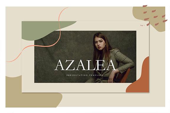 抽象几何图形拼贴女性服装营销PowerPoint演示文稿设计模板 Azalea PowerPoint Template