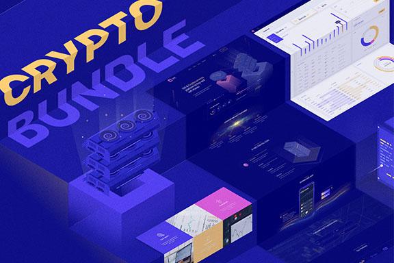 强大的区块链比特币货币大数据演示文稿设计模板素材 Crypto Bundle