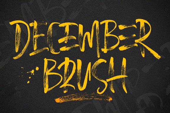 手写画笔毛笔笔刷效果英文字体 December Brush Font