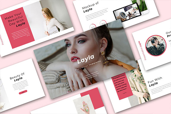 时尚女性服装摄影作品集PPT演示文稿设计模板 Layla Multipurpose PowerPoint Presentation