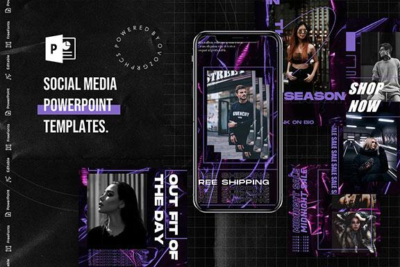 黑紫色搭配品牌故事Instagram推广社交媒体设计PPT模板 Social Media PowerPoint Template