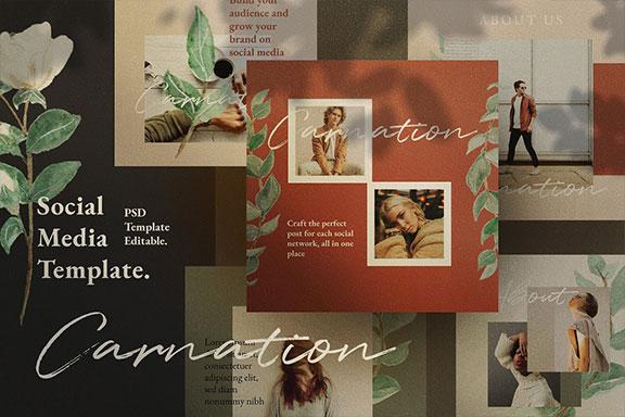 时尚简约女装服装品牌营销推广社交媒体设计模板 Carnation – Social Media + Bonus