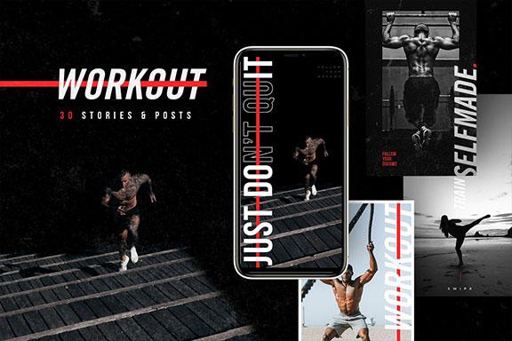 体育运动服装品牌Instagram推广设计模板素材 WORKOUT – Instagram Template