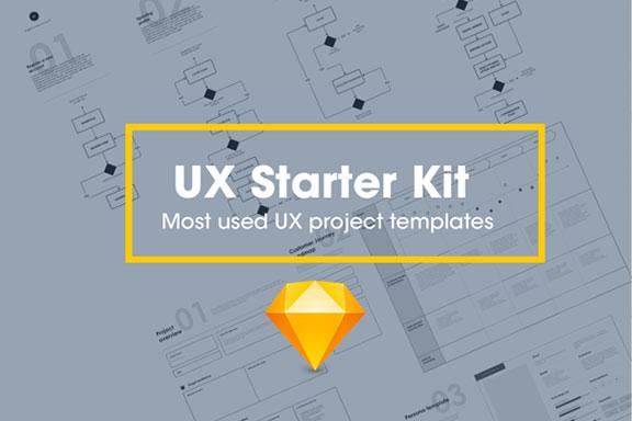 网站设计流程图Web UX线框图Sketch模板 UX Starter Kit