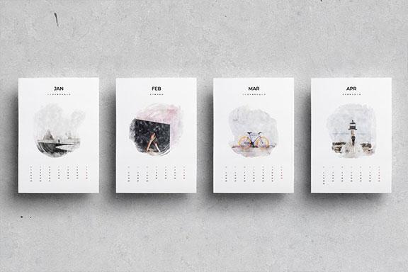 出色创意2020年水彩日历台历设计INDD模板 2020 Watercolor Calendar