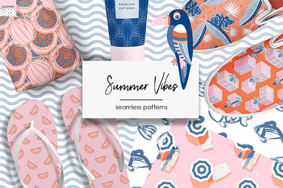 图块式高质量夏日海边元素矢量剪贴画套装 Summer Vibes – Graphics & Patterns