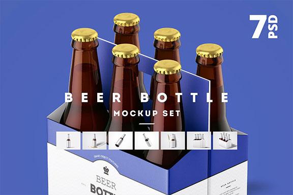 7个高品质啤酒瓶标签设计预览图样机模板套装 Beer Bottle Mockup Set