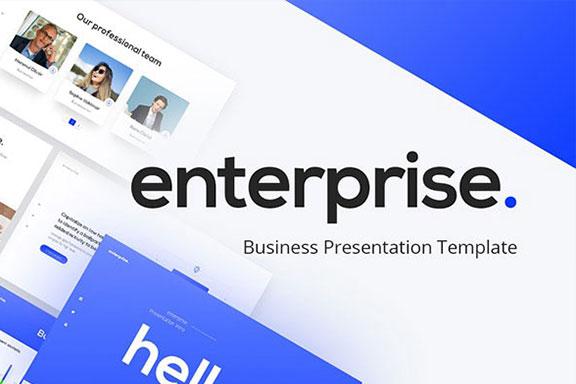 强大简约蓝色企业业务报表计划书PPT演示文稿设计模板 Enterprise Business PowerPoint Presentation Template