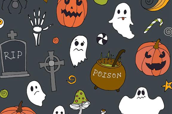 可爱万圣节矢量图案平面设计素材包 Halloween Vector Elements & Patterns – Part II
