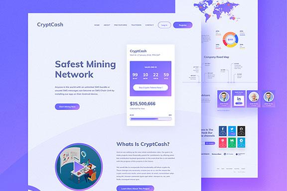 ICO区块链/数字加密货币投资网站UI设计模板 Cryptcash Landing