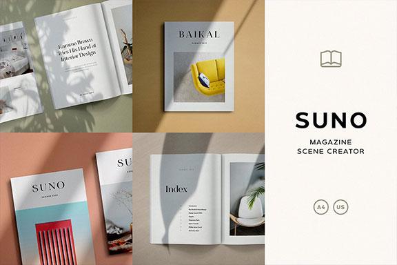 画册杂志设计效果图展示样机PSD模板 Suno Magazine Mockup Kit