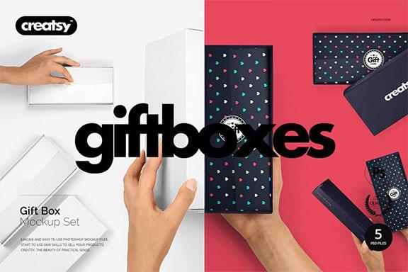 礼品包装盒PSD样机模板 Gift Box Mockup Set