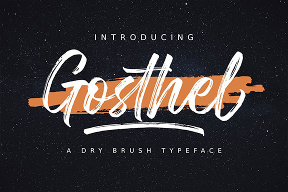 手写毛笔笔刷书法英文字体 Gosthel   Dry Brush Font