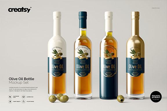 透明橄榄油玻璃瓶包装设计样机模板 Olive Oil Bottle Mockup Set