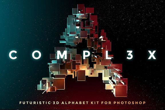 带有灯光科幻3D颗粒块状字母设计PS图层样式素材套件 COMPL3X – Futuristic 3D Alphabet Kit