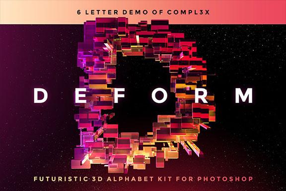 超炫酷6个科幻3D块状字母设计PS图层样机套件 DEFORM – Futuristic 3D Alphabet Kit