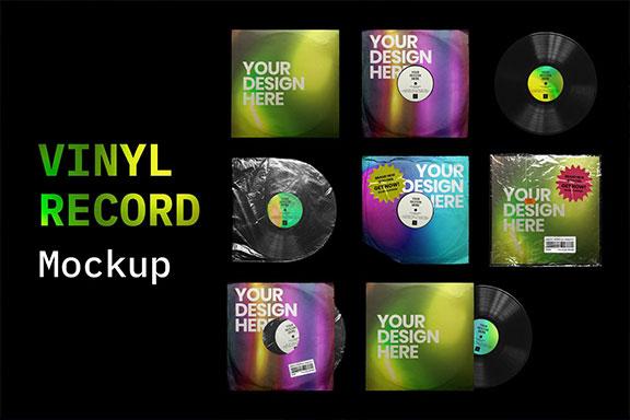 复古黑胶片CD唱片包装袋封面设计样机模板 Vinyl Record Mockup