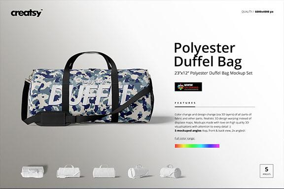 手提/斜挎帆布行李包设计展示图样机模板(23×12) Duffel Bag Mockup Set (23×12)