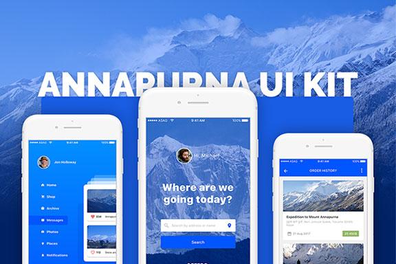 高质量新闻社交应用程序设计APP UI设计模板套件 Annapurna Ui Kit