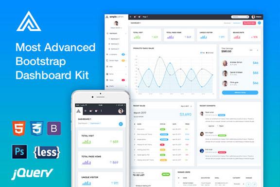 开源信息统计管理仪表盘WEB APP用户界面设计模板套件 Ample Admin Template