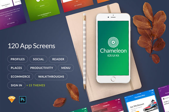 多功能在线购物摄影社交软件APP UI设计模板套件 Chameleon UI Kit