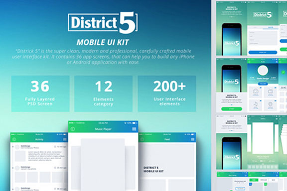 多功能手机应用程序APP UI设计素材套件 District 5 UI Kit