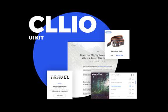 极简主义博客商城网站界面UI设计模板套件 CLLIO UI Kit