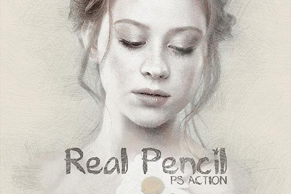 摄影照片铅笔素描处理效果PS动作 Real Pencil Photoshop Action