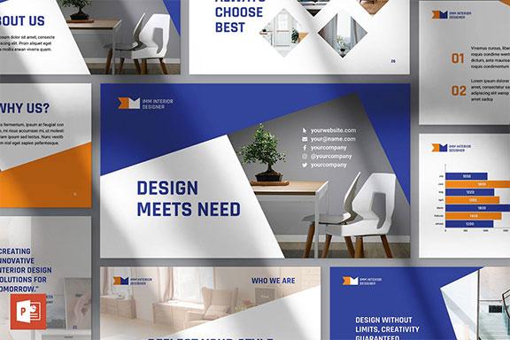 室内设计公司产品营销计划书PPT幻灯片模板 Interior Designer Firm Presentation