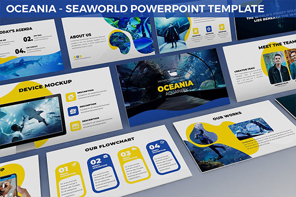 抽象双色调海底世界主题PPT演示文稿模板 Oceania – Seaworld Powerpoint Template