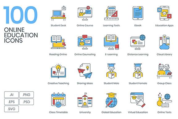 100款在线教育填充颜色矢量图标  100 Online Education Icons