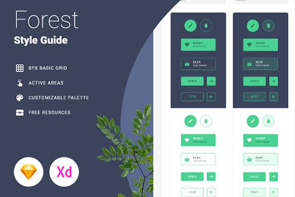 森林野生动物主题企业官网WEB用户界面设计规范指南模板  Forest Style Guide