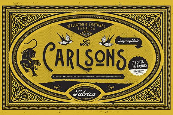 经典复古英文字体打包下载 Carlsons Font family