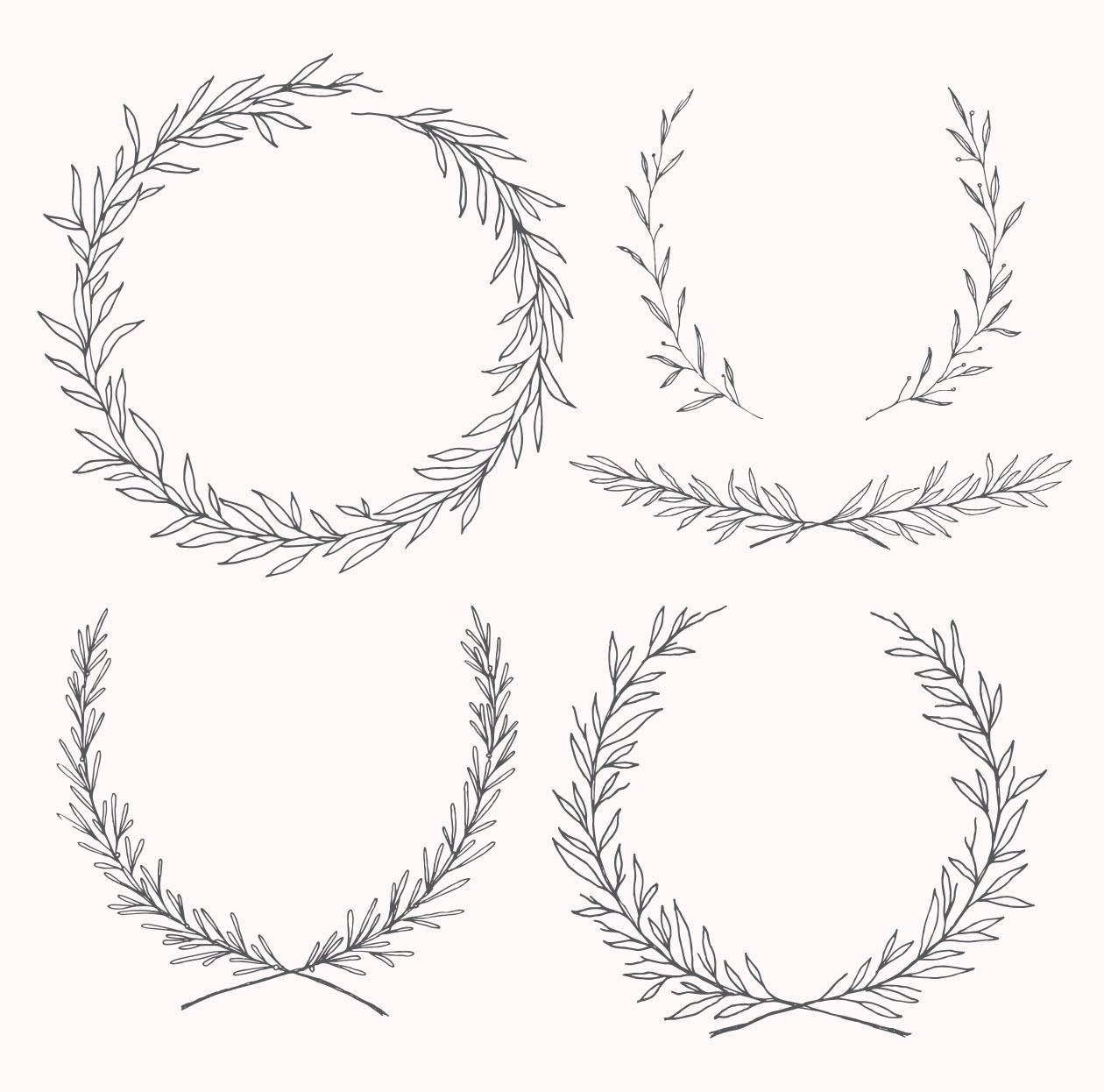精美手绘花卉橄榄枝婚礼元素矢量素材包 The Ultimate Wedding Design Pack插图(6)