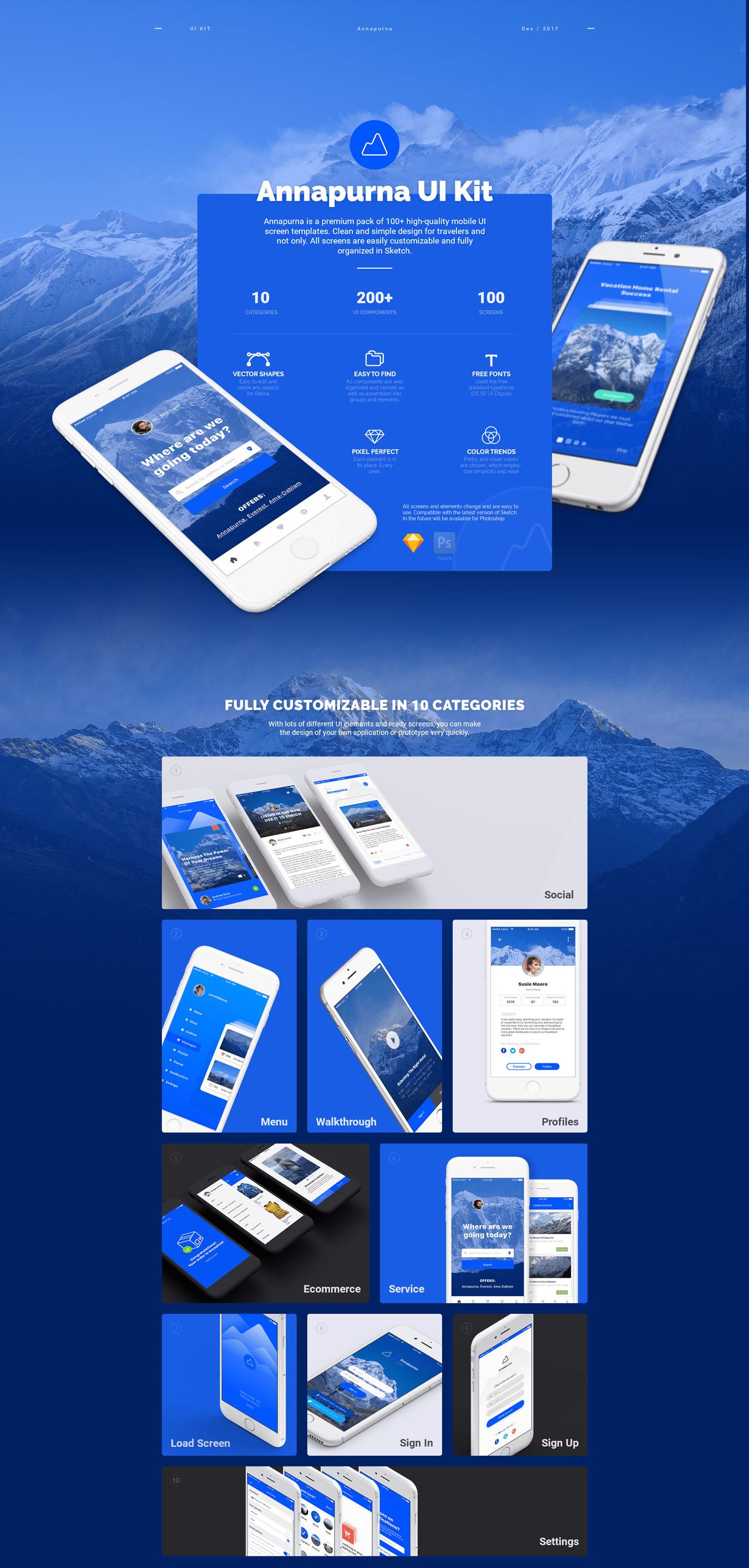 高质量新闻社交应用程序设计APP UI设计模板套件 Annapurna Ui Kit插图