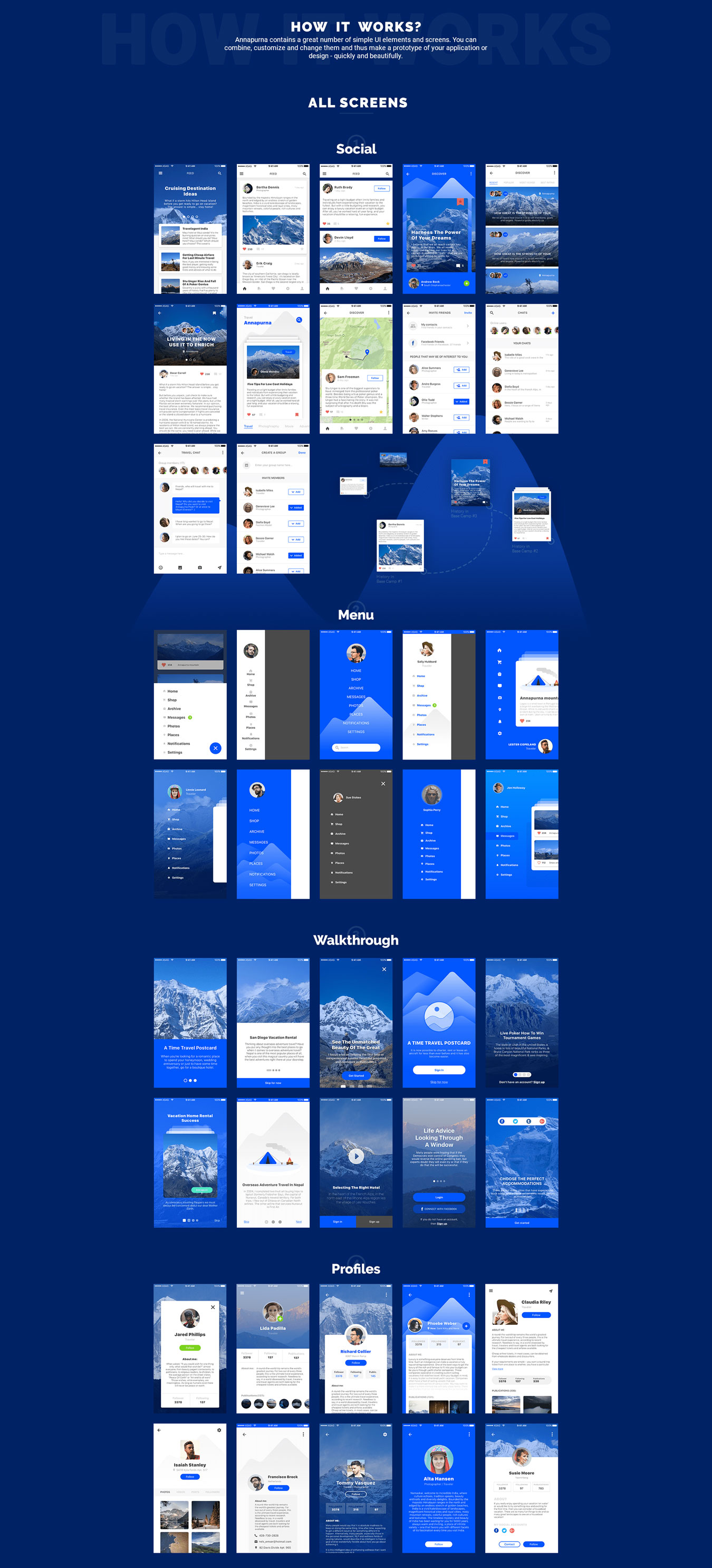 高质量新闻社交应用程序设计APP UI设计模板套件 Annapurna Ui Kit插图(1)