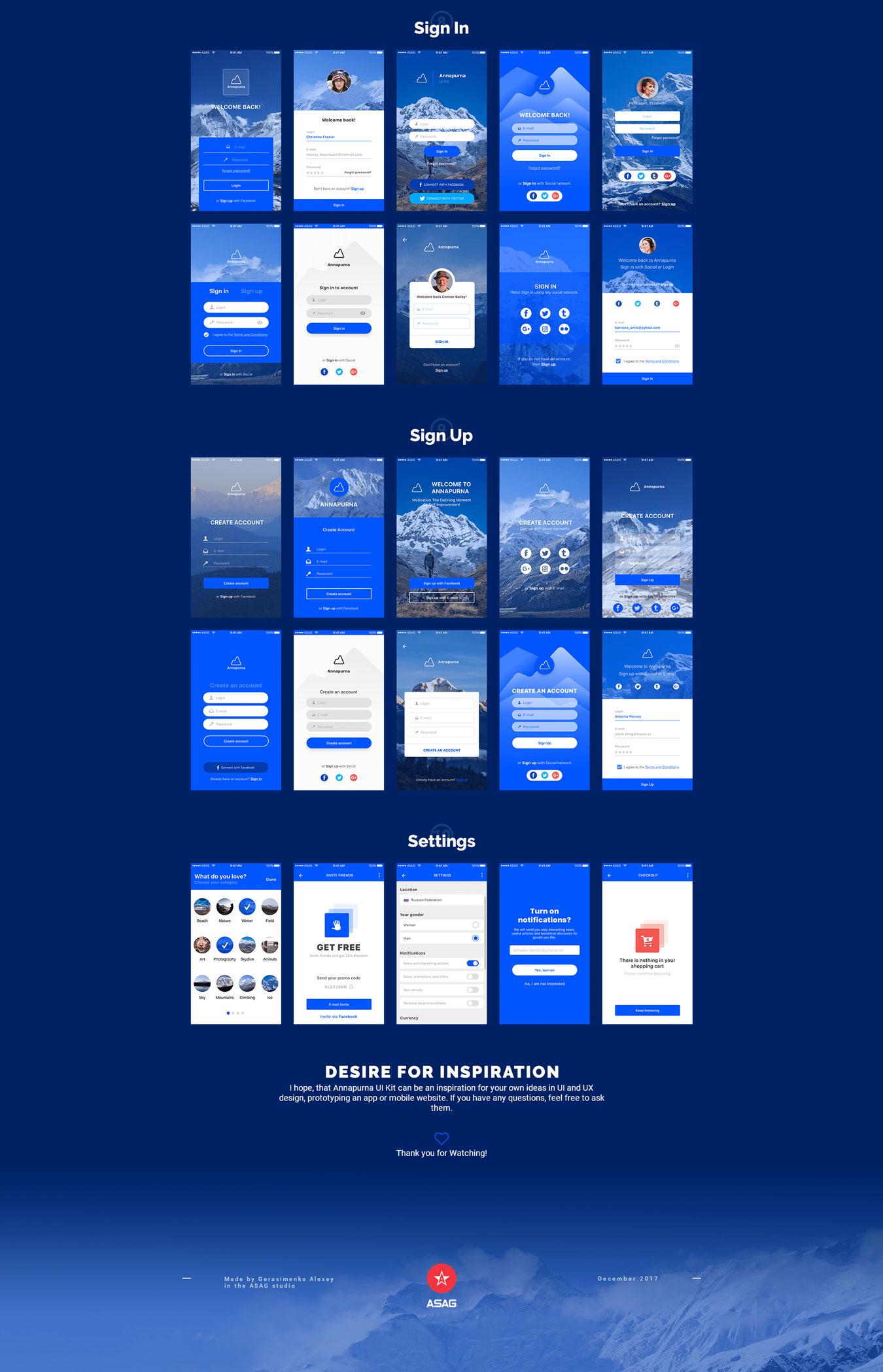 高质量新闻社交应用程序设计APP UI设计模板套件 Annapurna Ui Kit插图(3)