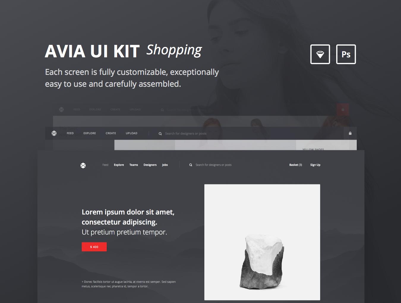 精美在线购物电子商城网站UI设计模板 Avia UI Kit: Shopping插图