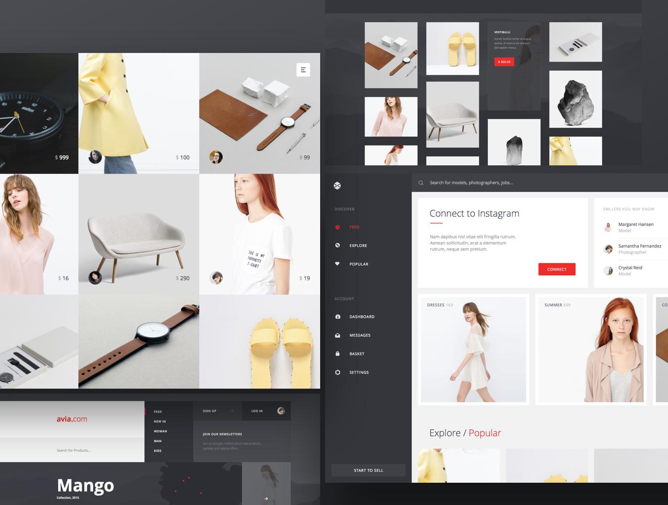 精美在线购物电子商城网站UI设计模板 Avia UI Kit: Shopping插图(2)
