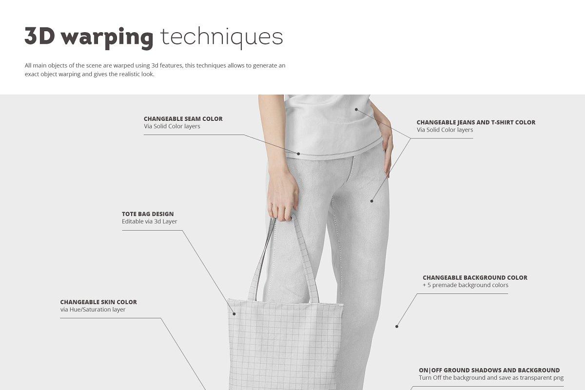 8个逼真的手提帆布袋设计效果图PSD样机模板 Tote Bag Mockup插图(1)