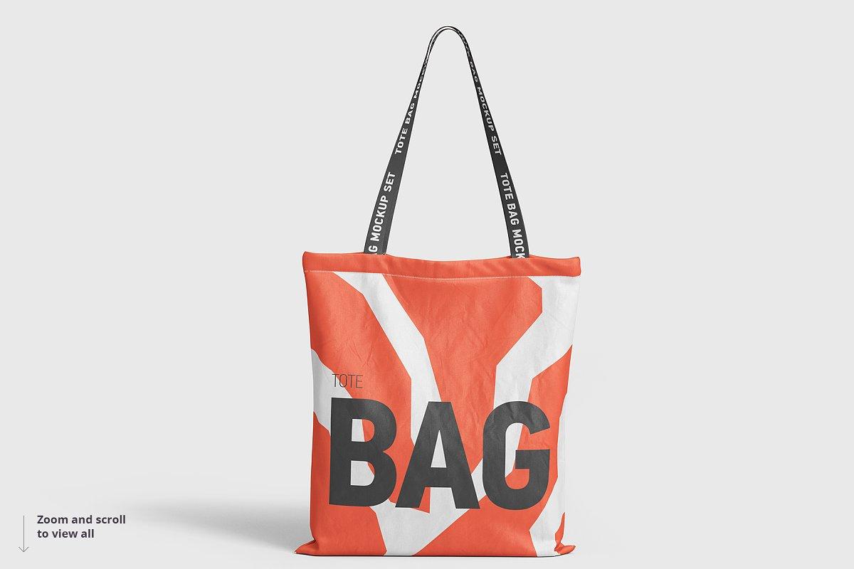 8个逼真的手提帆布袋设计效果图PSD样机模板 Tote Bag Mockup插图(3)