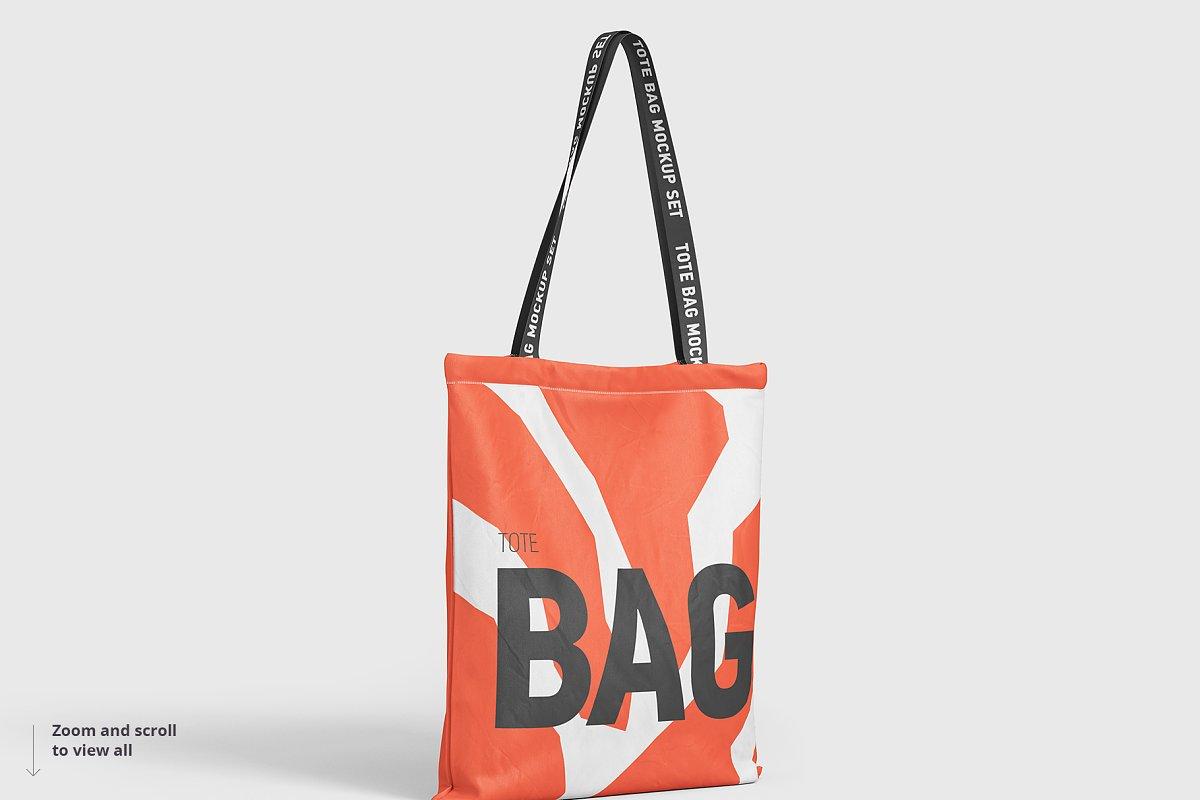8个逼真的手提帆布袋设计效果图PSD样机模板 Tote Bag Mockup插图(4)