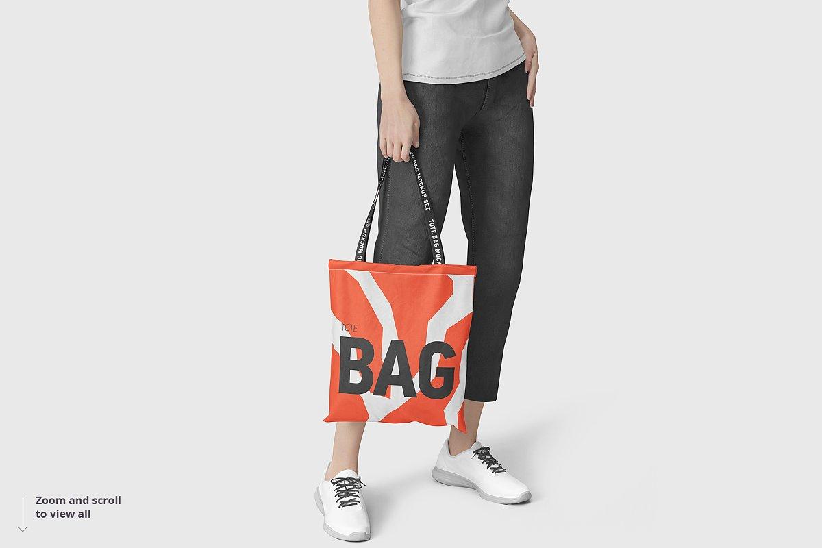8个逼真的手提帆布袋设计效果图PSD样机模板 Tote Bag Mockup插图(5)