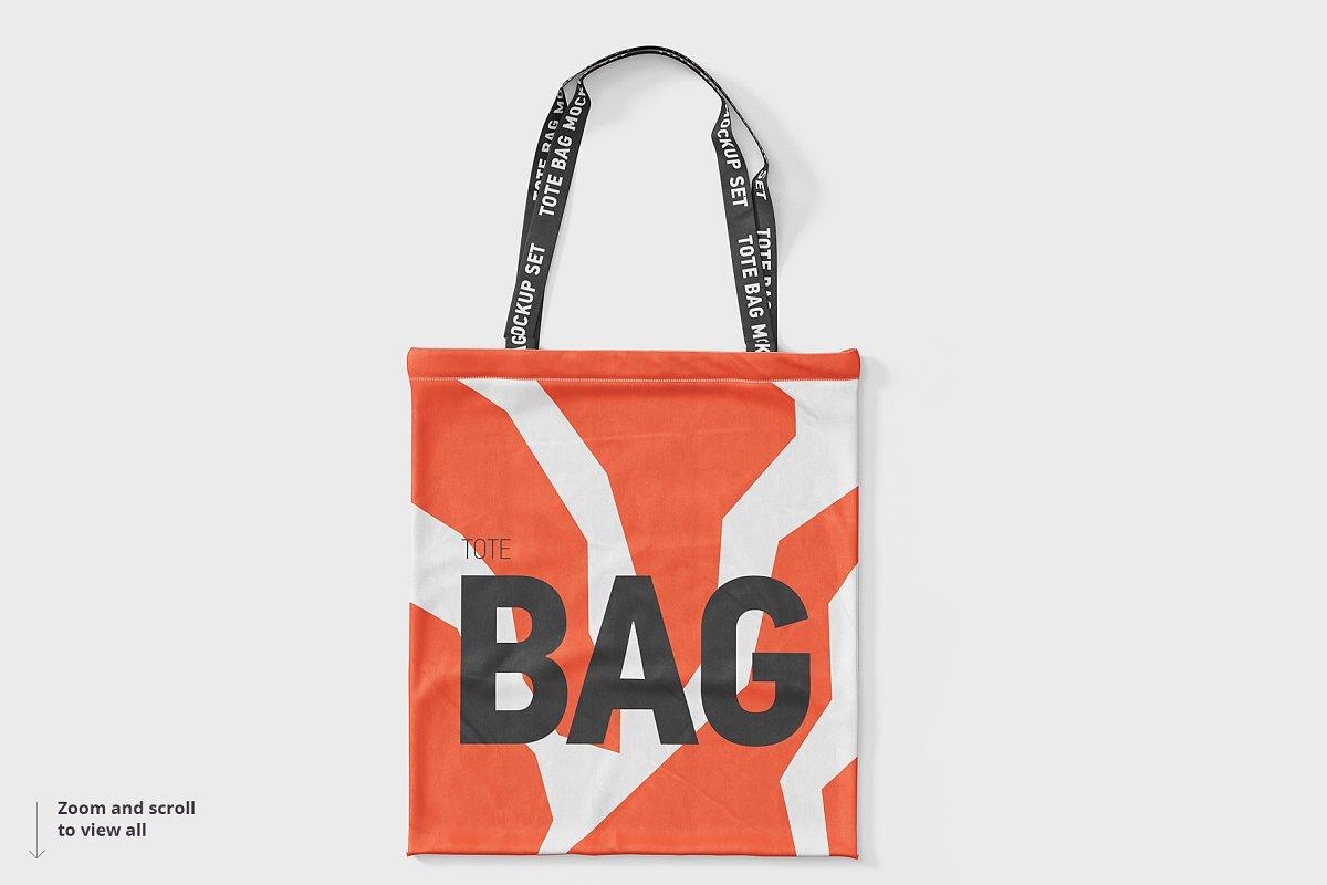 8个逼真的手提帆布袋设计效果图PSD样机模板 Tote Bag Mockup插图(6)