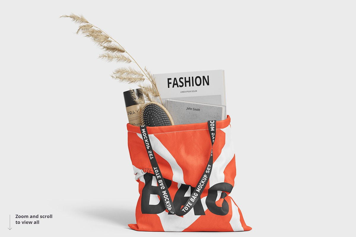 8个逼真的手提帆布袋设计效果图PSD样机模板 Tote Bag Mockup插图(7)