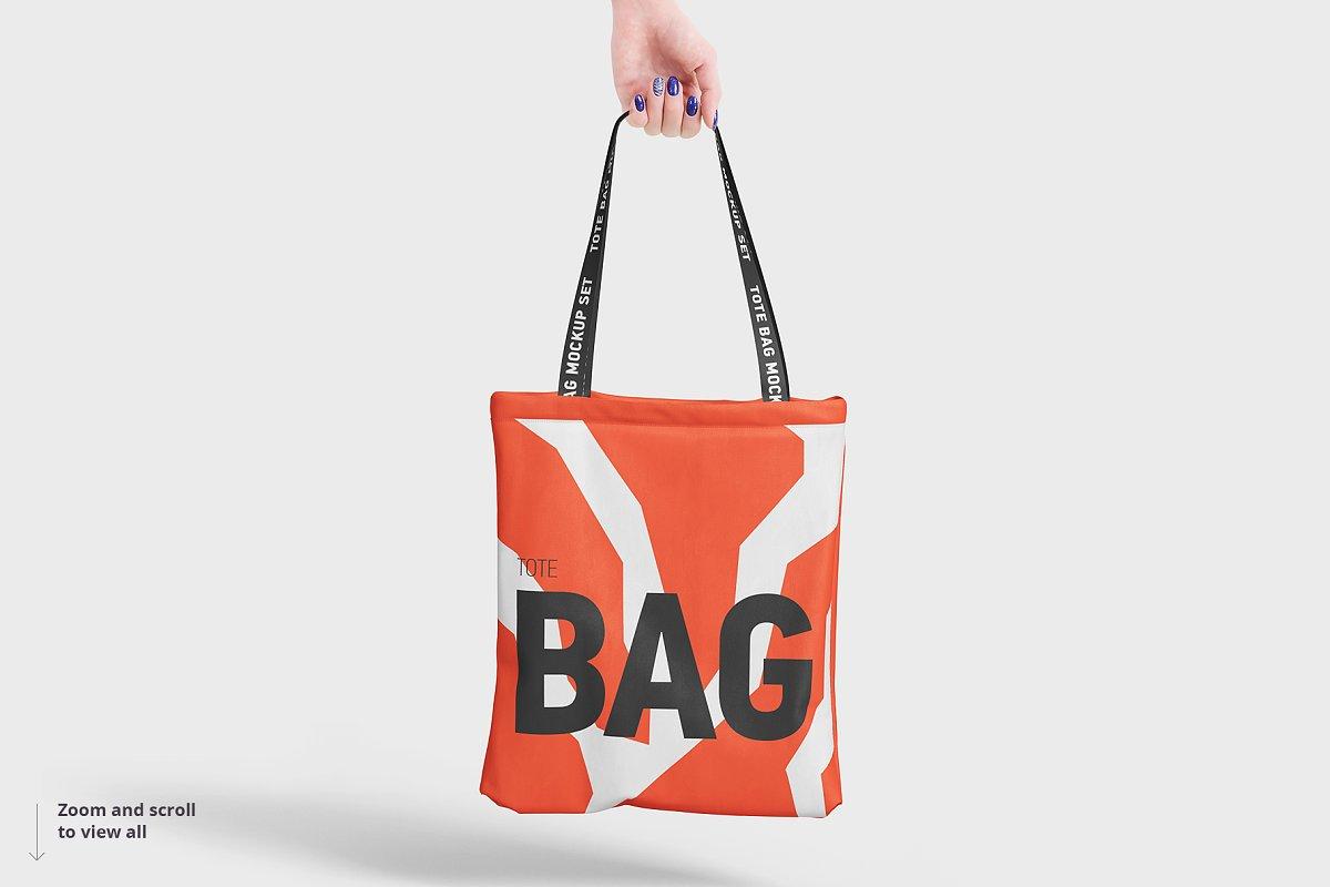 8个逼真的手提帆布袋设计效果图PSD样机模板 Tote Bag Mockup插图(8)