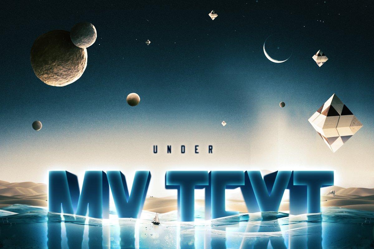 科幻电影半水下文字标志标题3D效果PS图层样式模板 Underwater Text Logo Effect插图(6)